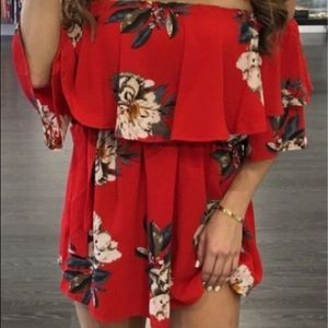 Dresses & Skirts - Red Floral Chiffon